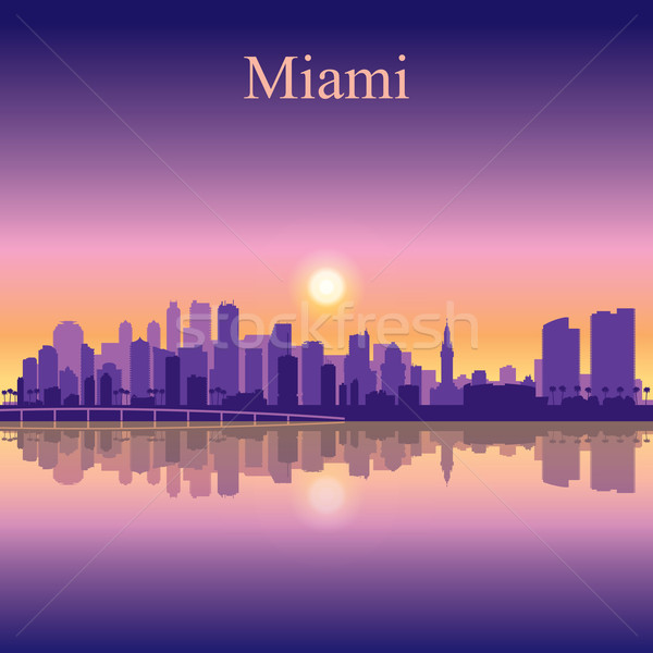 Miami silhouette bâtiment coucher du soleil sunrise Photo stock © Ray_of_Light