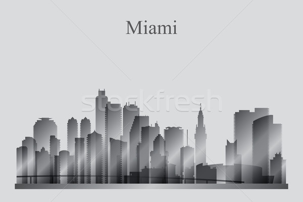 Miami city skyline silhouette in grayscale Stock photo © Ray_of_Light