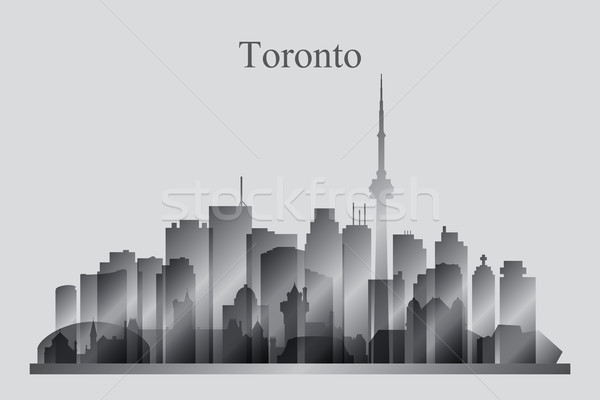 Toronto city skyline silhouette in grayscale Stock photo © Ray_of_Light