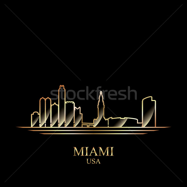 Or silhouette Miami noir Skyline architecture Photo stock © Ray_of_Light