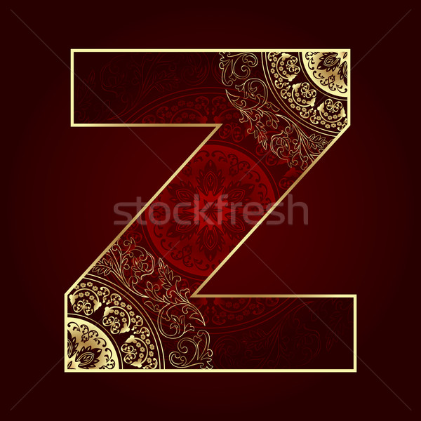 Vintage alphabet with floral swirls, letter Z Stock photo © Ray_of_Light