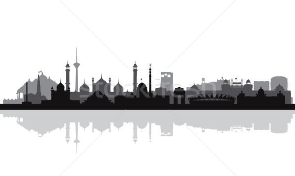 Stock fotó: Delhi · városkép · sziluett · épület · sziluett · építészet