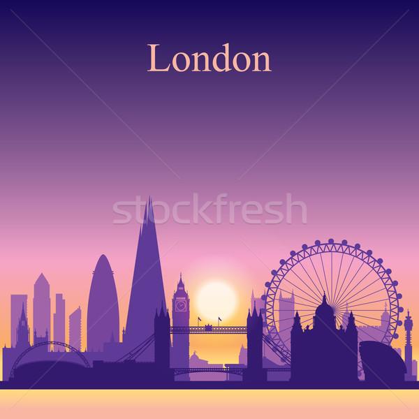 London városkép sziluett naplemente égbolt épület Stock fotó © Ray_of_Light