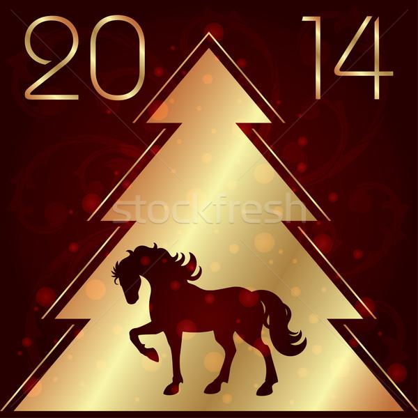 Caballo silueta árbol de navidad diseno calendario estrellas Foto stock © Ray_of_Light
