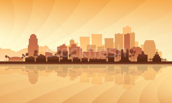 Phoenix silhueta edifício pôr do sol linha do horizonte Foto stock © Ray_of_Light