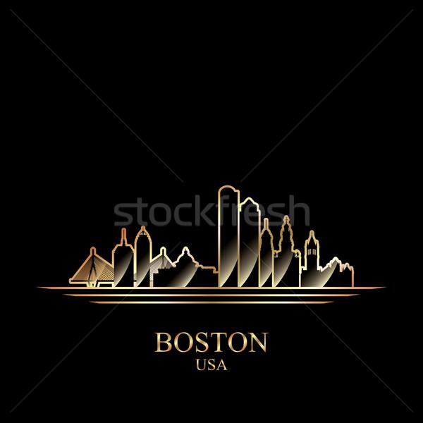 Stockfoto: Goud · silhouet · Boston · zwarte · reizen · skyline