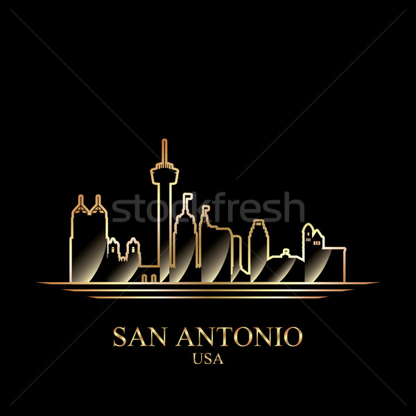 Gold silhouette of San Antonio on black background Stock photo © Ray_of_Light