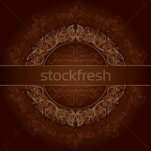 Goud frame vintage patronen bruin Stockfoto © Ray_of_Light