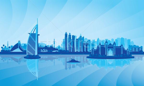 Stock fotó: Dubai · sziluett · sziluett · pálma · utazás · hotel