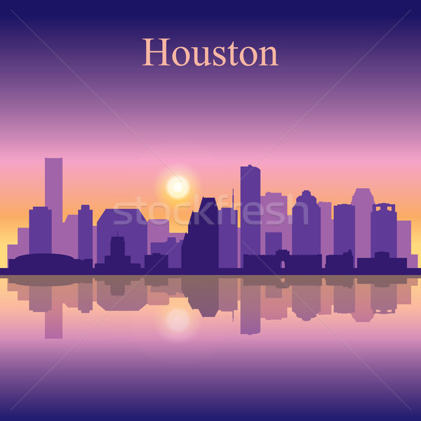 Houston silhueta edifício nascer do sol linha do horizonte Foto stock © Ray_of_Light