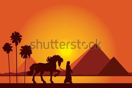 Египет пирамидами верблюда караван закат Сток-фото © Ray_of_Light
