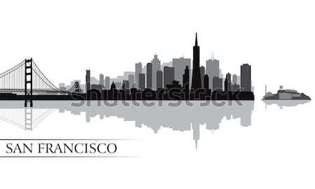 New York city skyline detailed silhouette Stock photo © Ray_of_Light
