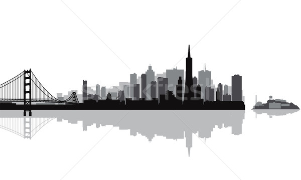 Foto stock: San · Francisco · silhueta · céu · edifício · ponte