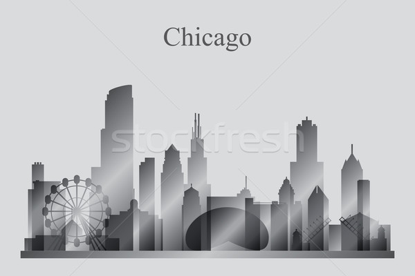 Chicago city skyline silhouette in grayscale Stock photo © Ray_of_Light