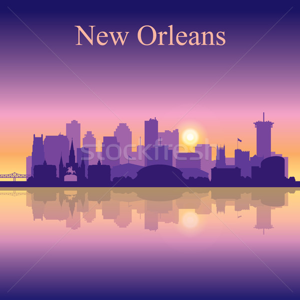 New Orleans silhouette on sunset background Stock photo © Ray_of_Light