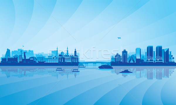 Dubai Deira and Bur Dubai skyline silhouette background Stock photo © Ray_of_Light
