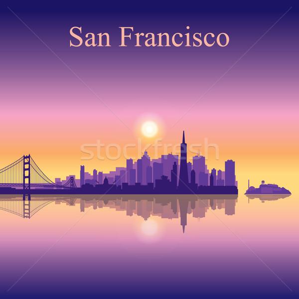 San Francisco városkép sziluett épület naplemente híd Stock fotó © Ray_of_Light