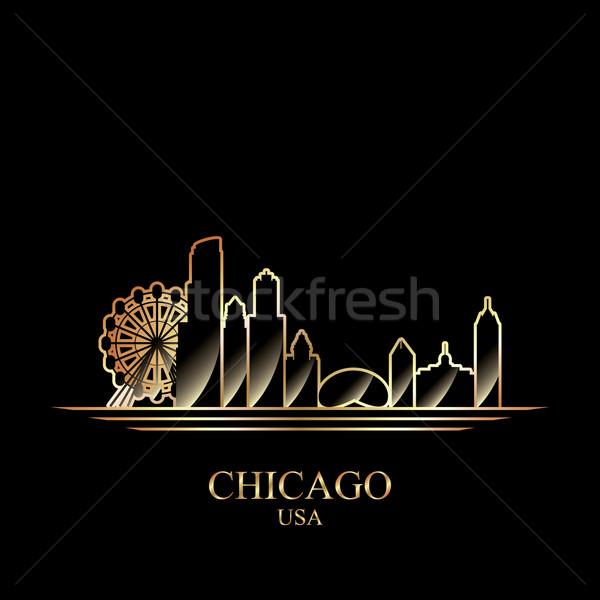 Stock fotó: Arany · sziluett · Chicago · fekete · sziluett · építészet