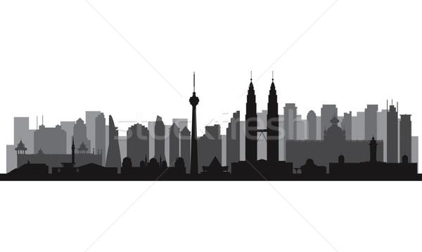 Kuala Lumpur vektör siluet örnek Bina Stok fotoğraf © Ray_of_Light