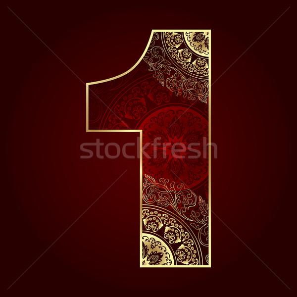 Klasszikus szám virágmintás örvények arany sziluett Stock fotó © Ray_of_Light