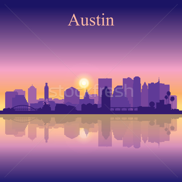 Austin silueta puesta de sol edificio amanecer horizonte Foto stock © Ray_of_Light