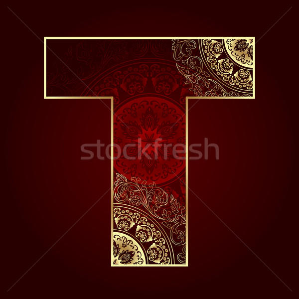 Vintage alphabet with floral swirls, letter T Stock photo © Ray_of_Light