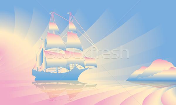 Vitorlás hajó sziluett víz tenger utazás sziluett Stock fotó © Ray_of_Light