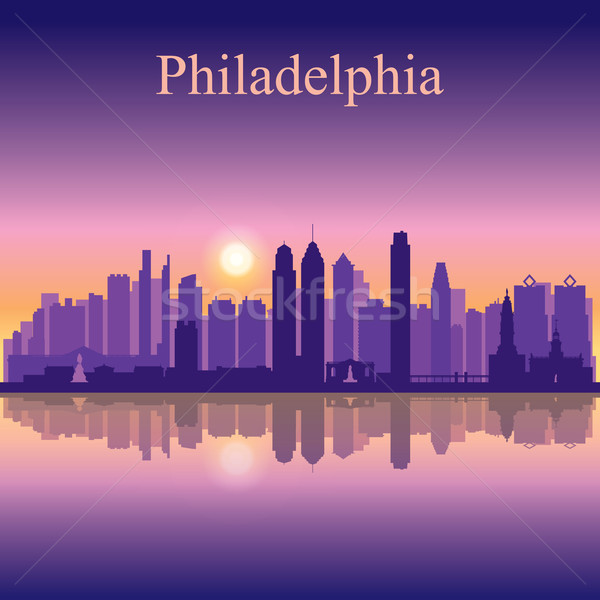 Stock photo: Philadelphia city skyline silhouette background
