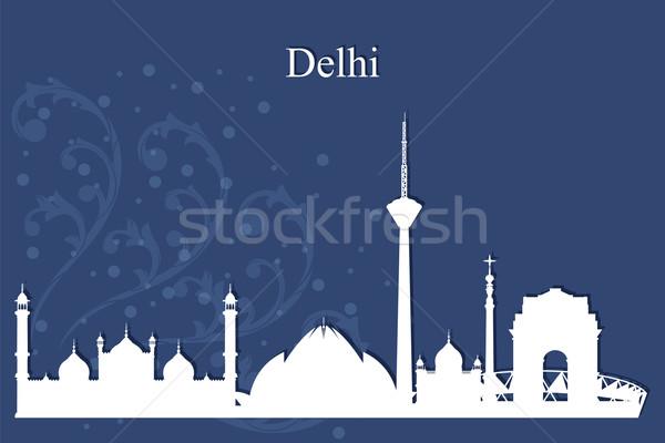 Delhi silhouette bleu bâtiment Skyline Photo stock © Ray_of_Light