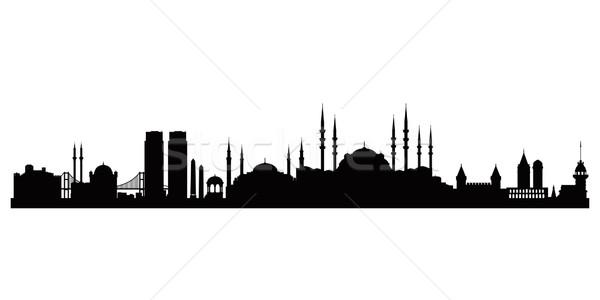 Isztambul város sziluett vektor sziluett illusztráció Stock fotó © Ray_of_Light