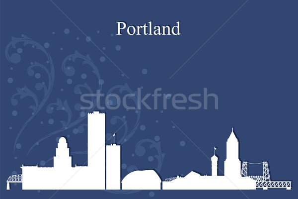 Portland city skyline silhouette on blue background Stock photo © Ray_of_Light