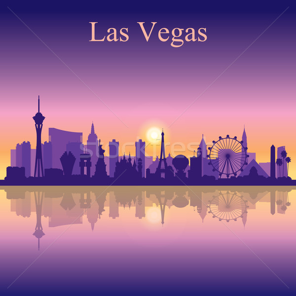 Las Vegas skyline silhouette on sunset background Stock photo © Ray_of_Light