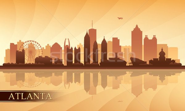 Foto stock: Atlanta · silhueta · edifício · pôr · do · sol · linha · do · horizonte