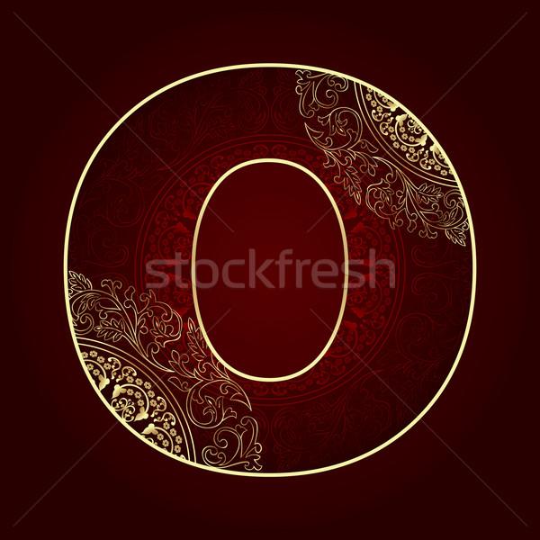 Klasszikus ábécé virágmintás örvények o betű művészet Stock fotó © Ray_of_Light