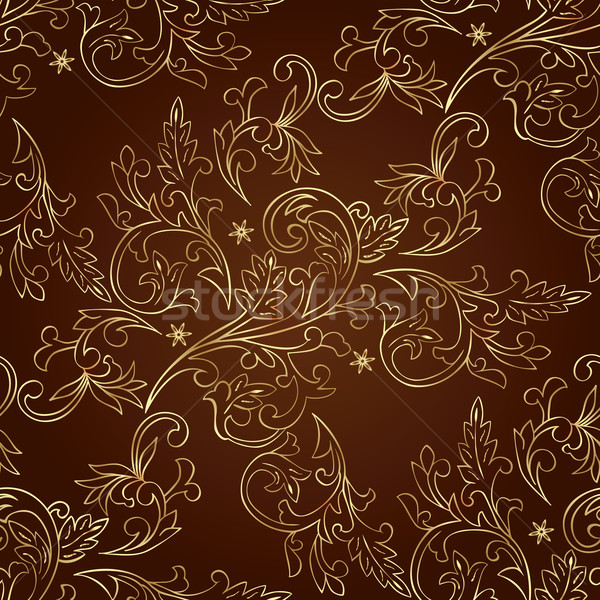 Floral vintage seamless pattern on brown background Stock photo © Ray_of_Light
