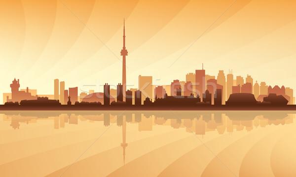 Toronto városkép sziluett égbolt épület éjszaka Stock fotó © Ray_of_Light