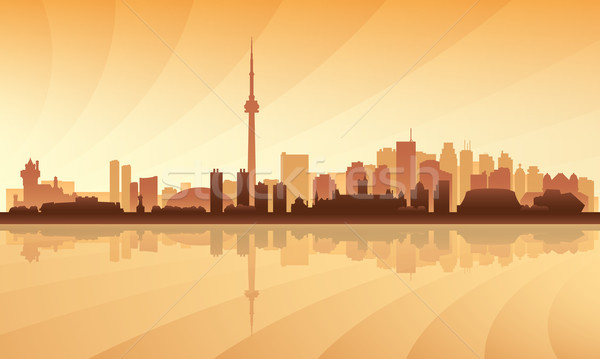 Foto stock: Toronto · silueta · cielo · edificio · noche
