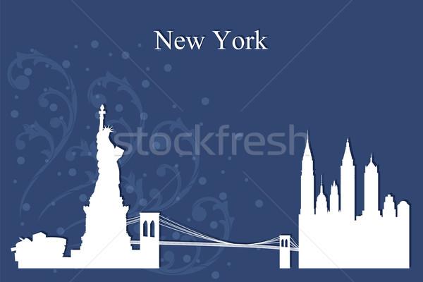 New York sziluett sziluett kék épület építészet Stock fotó © Ray_of_Light