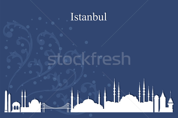 Стамбуле силуэта синий здании путешествия Сток-фото © Ray_of_Light