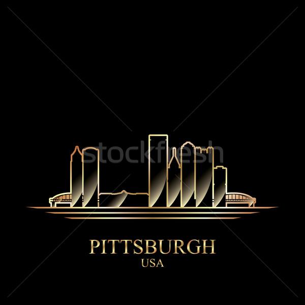 Arany sziluett fekete épület sziluett építészet Stock fotó © Ray_of_Light
