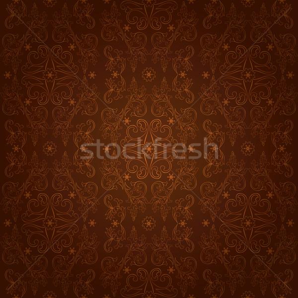 Stock fotó: Klasszikus · virágmintás · végtelen · minta · barna · vektor · virág