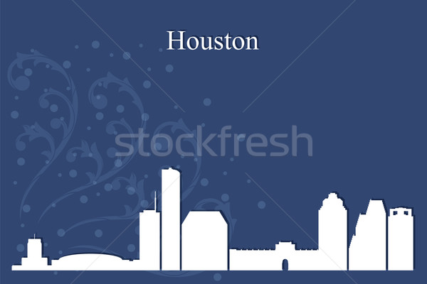 Houston silhueta azul edifício inverno Foto stock © Ray_of_Light