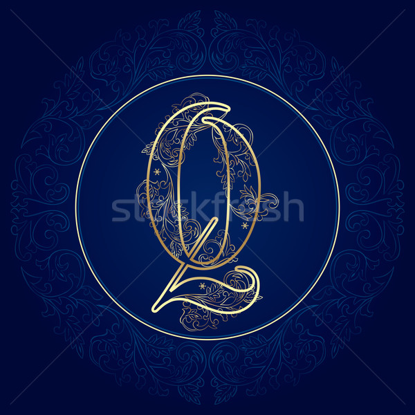 Vintage floral alphabet, letter Q Stock photo © Ray_of_Light