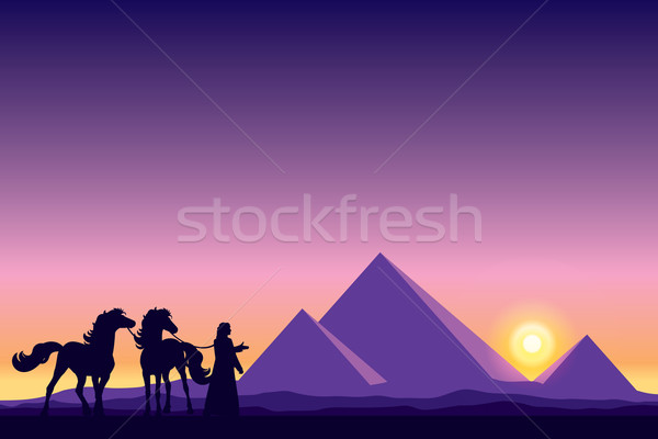 Egypt Great Pyramids with Bedouin and horses silhouettes on suns Stock photo © Ray_of_Light
