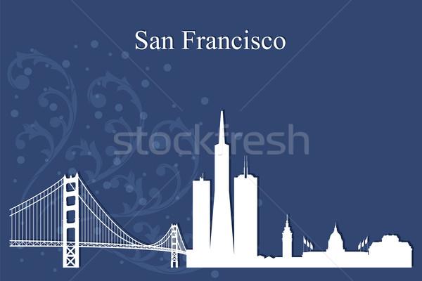 サンフランシスコ シルエット 青 建物 橋 ストックフォト © Ray_of_Light