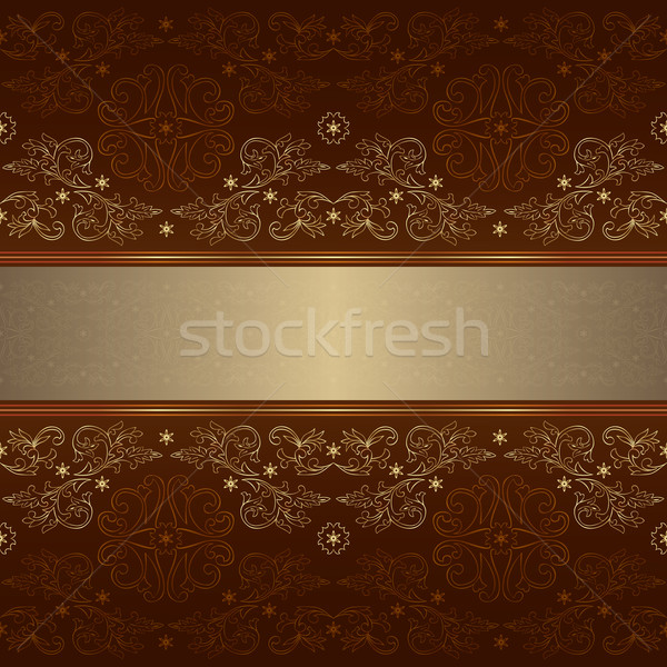 Template with ornate floral seamless pattern on brown background Stock photo © Ray_of_Light