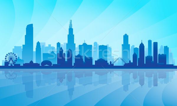 Stock fotó: Chicago · városkép · részletes · sziluett · égbolt · város