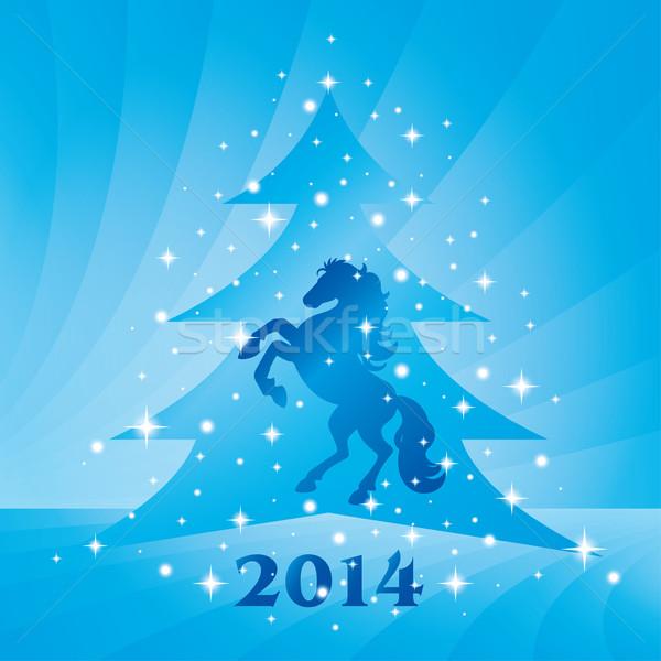 Ló sziluett karácsonyfa terv naptár csillagok Stock fotó © Ray_of_Light