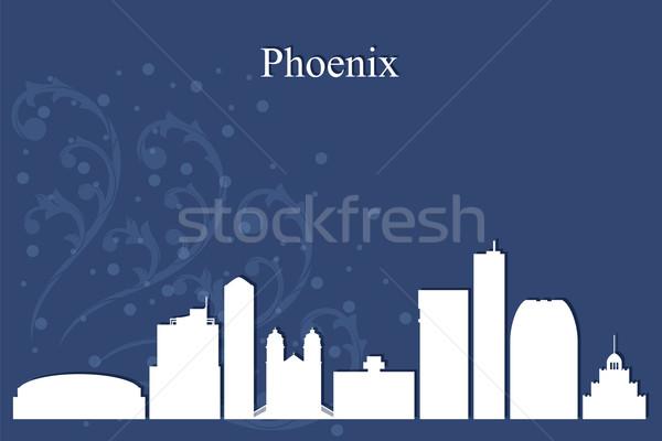 Phoenix city skyline silhouette on blue background Stock photo © Ray_of_Light