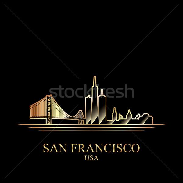 Foto stock: Ouro · silhueta · San · Francisco · preto · ponte · linha · do · horizonte